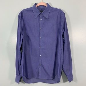 Armani Exchange | Blue Pinstriped Button Up Shirt